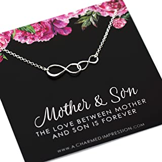 Gift for Mom • Mother Son • Infinite Love Necklace • 925 Sterling Silver • Double Infinity Charm • Handmade Personalized Jewelry • Gifts for Women