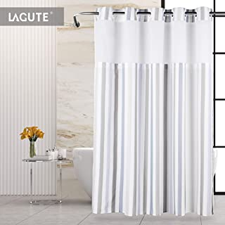 Lagute SnapHook Stijl Hookless Shower Curtain | Removable Liner | See Through Top | Machine Washable | Nordic Stripes