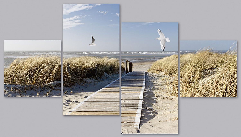 Artland Qualittsbilder  Glasbilder Deko Glas Bilder 120 x 70 cm mehrteilig Nordsee Strand auf Langeoog mit Mwen Landschaften D8PN