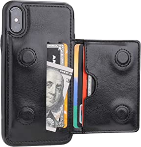 iPhone Xs Wallet Case iPhone X Wallet Case Credit Card Holder, KIHUWEY Premium Leather Kickstand Durable Shockproof Protective Cover iPhone X/Xs 5.8 Inch(Black)