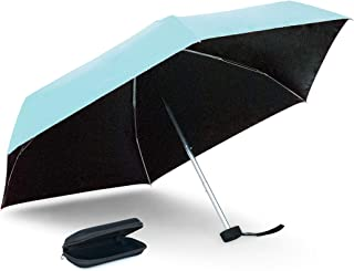 Topline Compact Portable Small Travel Umbrella with Carrying Case - Sky Blue