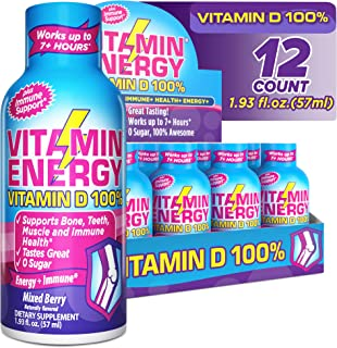 (12 Pack) VitaminEnergy™ Vitamin D 100% Energy Shots, Lasts up to 7+ Hours Mixed Berry Energy Drink with Vitamin Supplemen...