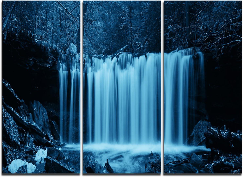 Designart Waterfalls in 限定特価 Wood Black Ar デポー and Canvas White-Landscape