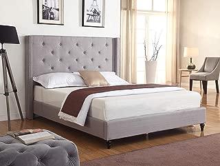 Best Master Furniture Vero Tufted Wingback Platform Bed, Cal. King Grey