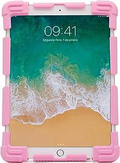 Capa Universal protetora para tablets 9-12 polegadas, Silicone, antichoque, base de apoio, Rosa, UN912P, Geonav, 240 x 173...