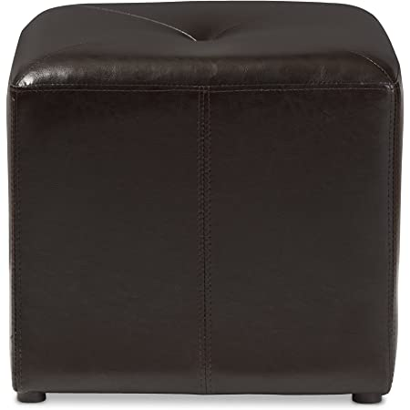 baxton studio brown lave cube shaped bonded leather ottoman small