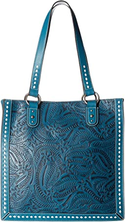 Floral Embossed Buck Stitch Tote