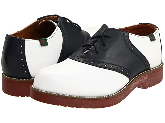 Vintage Style Shoes, Vintage Inspired Shoes School Issue Varsity Adult WhiteNavy Girls Shoes $54.00 AT vintagedancer.com