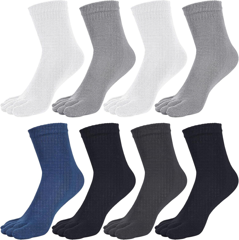 8 Pairs Toe Socks Crew Five Finger Socks Running Socks for Boys Women Men