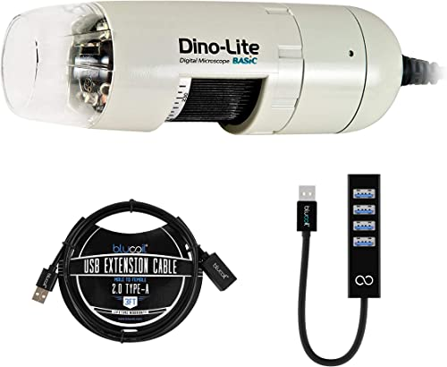 popular Dino-Lite USB Digital Microscope AM2111-0.3MP, 20x - 50x, 200x Optical Magnification (White) Bundle outlet sale with Blucoil USB Type-A Mini Hub with 4 USB Ports, and sale 3-FT USB 2.0 Type-A Extension Cable sale
