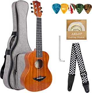 AKLOT 5 String Ukulele Tenor Solid Mahogany 26 inch Uke w/Gig Bag Belt Extra Strings for New Beginners Starters or Profess...