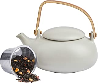 ZENS Teapot with Infuser,Modern Ceramic Japanese Tea Pot 27 Ounces with Bentwood Handle for Loose Tea and Adults, Matte Grey 800ML