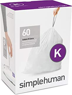 simplehuman Code K Custom Fit Liners, 35-45 L / 9-12 Gallon, 60ct