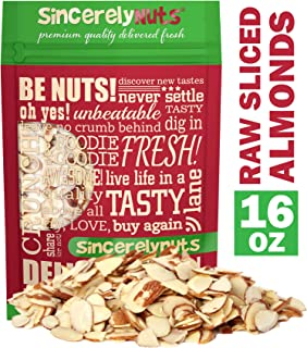 Sincerely Nuts – Raw Natural Sliced Almonds | 1 Lb. Bag | Delicious Guilt Free Snack | Low Calorie, Vegan, Gluten Free | Gourmet Kosher Food | Source of Fiber, Protein, Vitamins and Minerals