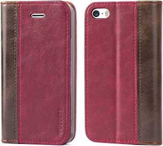 iPhone SE / 5S / 5 Case,Mulbess BookStyle Leather Wallet Case Cover with Kick Stand for Apple iPhone SE / 5S / 5,Wine Red