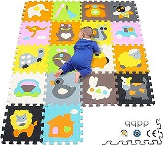 qqpp Alfombra Puzzle para Niños Bebe Infantil - Suelo de Goma EVA Suave. 18 Piezas (30*30*14cm),Animales. QQP-1135b18N