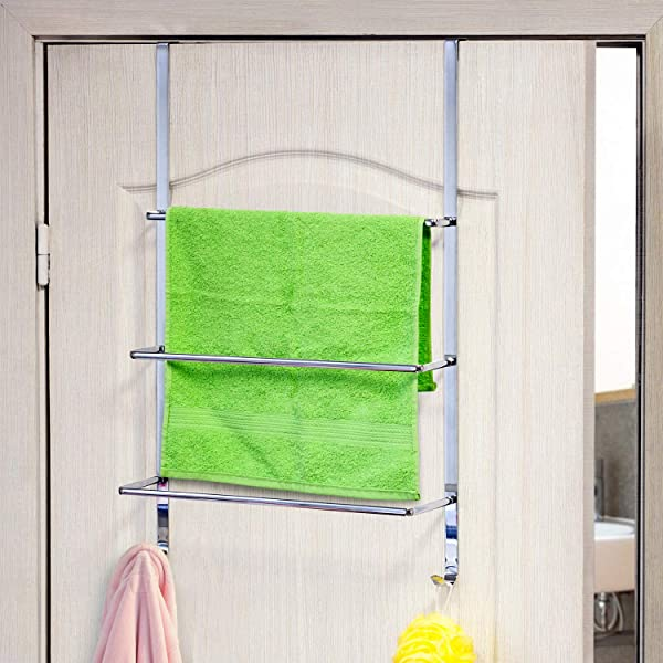 ArtMoon Luck Over Door 3 Tier Towel Rail With 2 Hooks Chrome Plated Steel 45 X 10 5 X 69 Cm