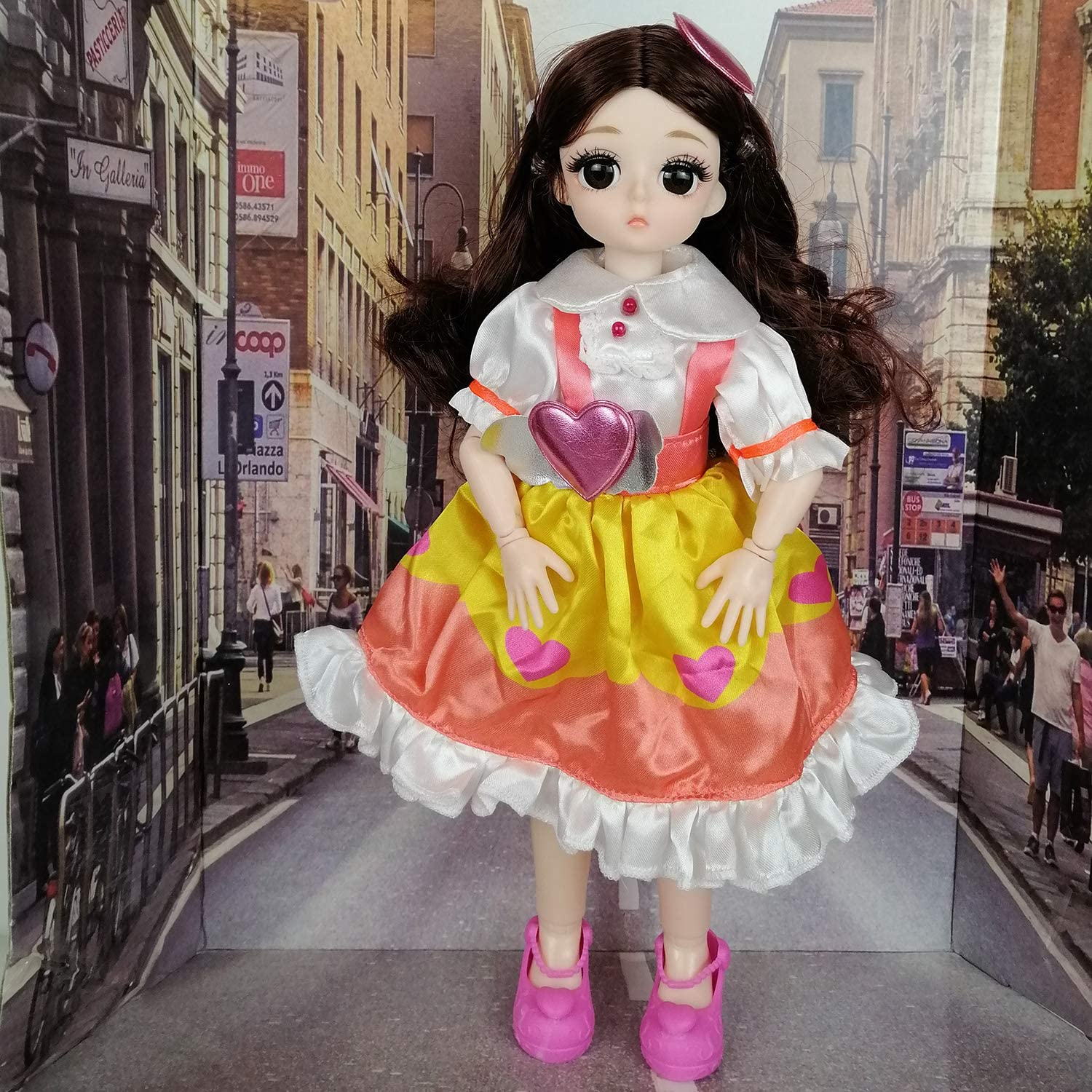 Dark Brown EVA BJD 1//6 28cm 12 Jointed Plastic Dolls Girl with Wig Shoes Dress Clothes Girls Gift Toy DIY Model
