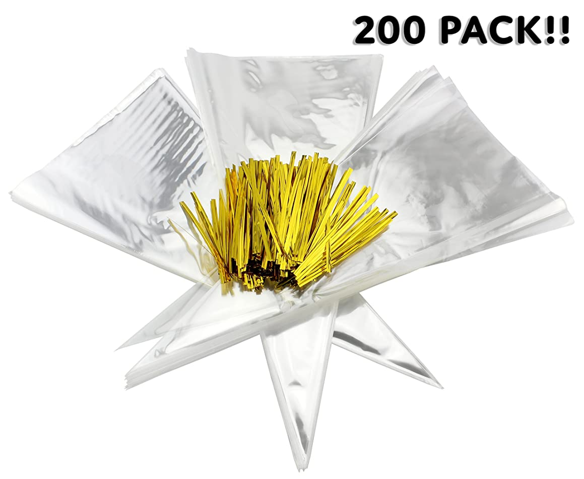 Cone-Shaped Treat Bags (200 Bags + 200 Twist Fastens); Clear Cellophane Goody, Treat & Popcorn Bags (12-Inch x 6.5 Inch)