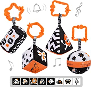 TUMAMA High Contrast Shapes Sets Baby Toys, Black and White Stroller Toy for Car Seat Baby Plush Rattles Rings Hanging Toy...