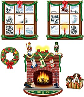 """Beistle 5 Piece Printed Plastic Indoor Christmas Decorations Holiday Photo Booth Background, 15"""" - 49"""""""