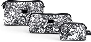 JuJuBe Be Set | Portable Cosmetic Travel Toiletry Bag Set, Multiple Sized Makeup Bags for Organization + Accessories, Detachable Wristlet Strap | Sketch | 3 Pack