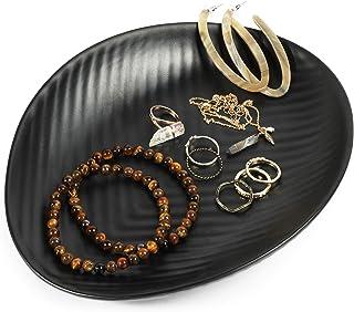 صينية مجوهرات ميلامين، طبق إكسسوار أسود (22.86 سم × 17.78 سم)