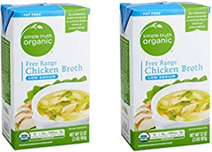 Simple Truth Organic Free Range Chicken Broth Low Sodium 32 oz (Pack of 2)