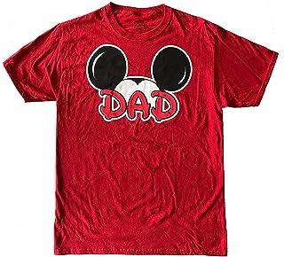تي شيرت رجالي بتصميم Disney Mickey Mouse مطبوع عليه Dad Fan Fashion Top (Large)