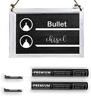 Erasable Liquid Chalk Markers White 2PK - Fine Tip Chalk Marker for Chalkboard - Bright Ink & Easy to Erase - 3mm Reversib...