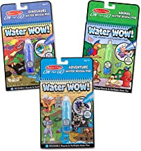 Melissa & Doug On the Go Water Wow Activity Pad, Dinosaurs, Adventure, Animal Reusable Water-Reveal Coloring Books, (3 Pack)