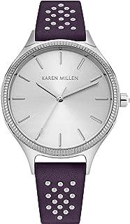 Karen Millen Women's Quartz Watch with Patent Leather Strap, Grey, 16 (Model: KM175V)
