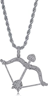 TOPGRILLZ Hip Hop Iced Out CZ Angel Gun Pistol Cupid Arrow Pendant with Stainless Steel Fashion Jewelry Neckalce