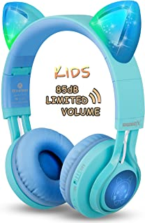 Kids Headphones, Riwbox CT-7S Cat Ear Bluetooth Headphones 85dB Volume Limiting,LED Light Up Kids Wireless Headphones Over...