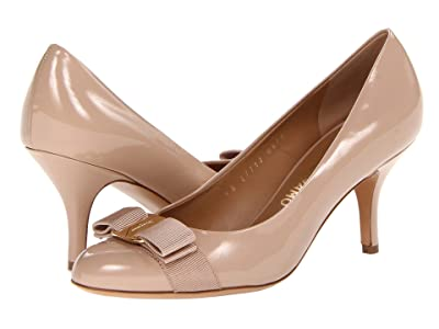 Salvatore Ferragamo Patent Leather Mid-Heel Pump (New Bisque Patent) High Heels