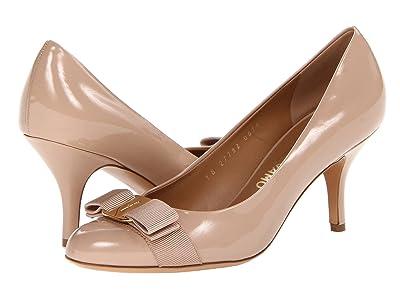 Salvatore Ferragamo Patent Leather Mid-Heel Pump (New Bisque Patent) High Heels