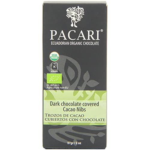 Pacari Ecuadorian Organic Chocolate Raw Cacao Nibs Covered In Dark Chocolate, 2 Ounce (Pack