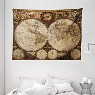 """Ambesonne World Map Tapestry, Old World Map Drawn in 1720s Nostalgic Style Art Historical Atlas Vintage Design, Wide Wall Hanging for Bedroom Living Room Dorm, 80"""" X 60"""", Pale Brown"""
