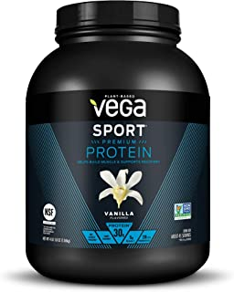 Vega Sport Protein Powder Vanilla (45 Servings, 65.8 Ounce) Plant Based Vegan Protein Powder, BCAAs, Amino Acids, Tart Cherry, Non Dairy, Keto-Friendly, Gluten Free, Non GMO (Packaging May Vary)