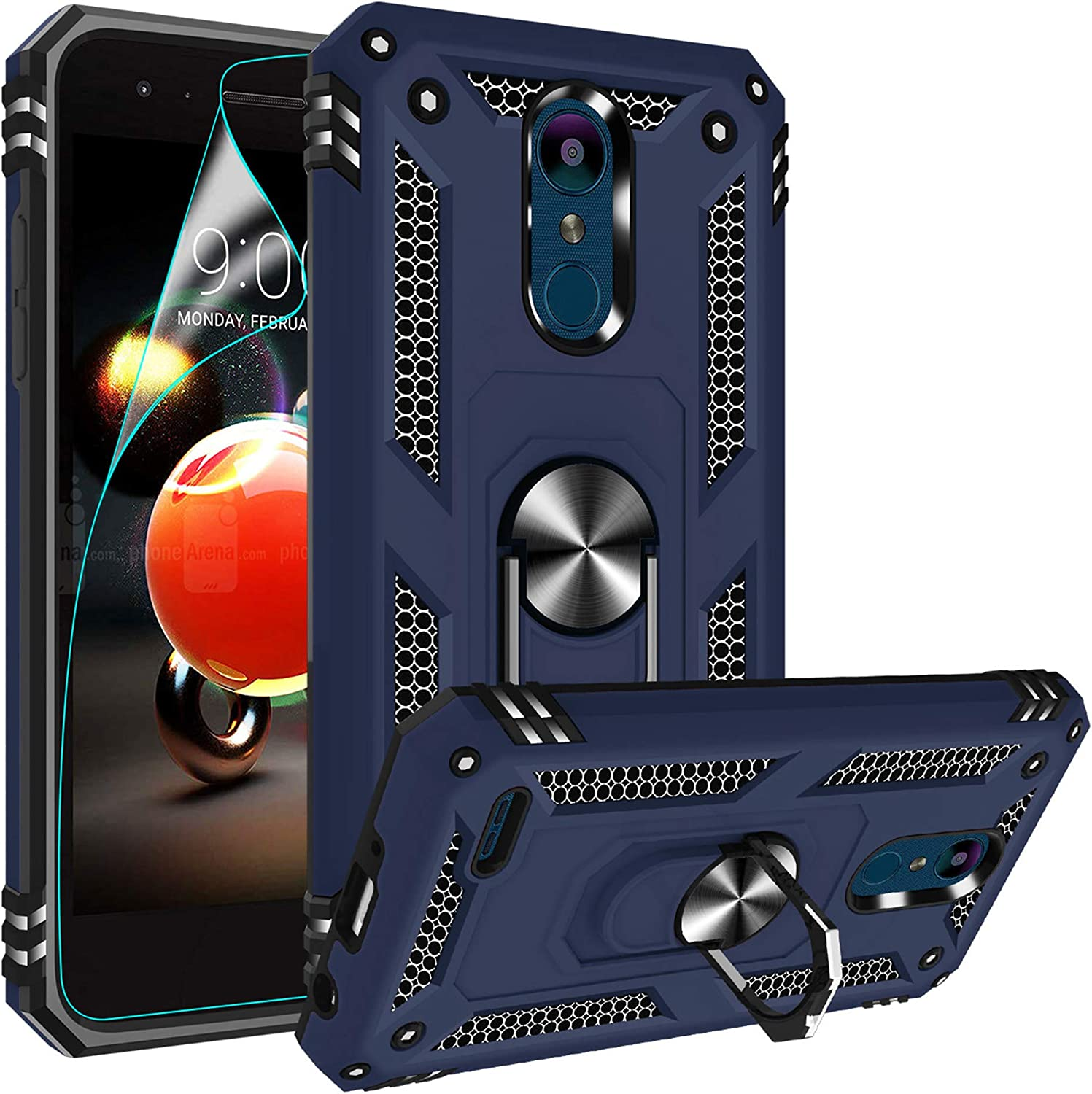 Compatible for LG Tribute Empire Case, LG Aristo 3/Aristo 2/Rebel 4 LTE/Aristo 2 Plus/Phoenix 4/Tribute Dynasty/Zone 4 Case, Gritup Metal Ring Kicktand Cover Phone Case for LG K8 2018 Blue