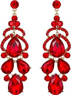 EVER FAITH Women's Austrian Crystal Stunning Bridal Wedding Teardrop Pierced Dangle Earrings