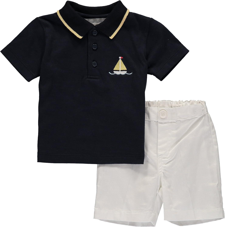 Carriage Boutique Boys Short Set Nautical Navy Polo Shirts with White Shorts