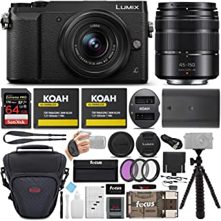 دوربین بدون آینه Panasonic Lumix GX85 (سیاه) همراه با لنزهای 12-32mm و 45-150mm ، کارت SD 64 GB و بسته نرم افزاری جانبی