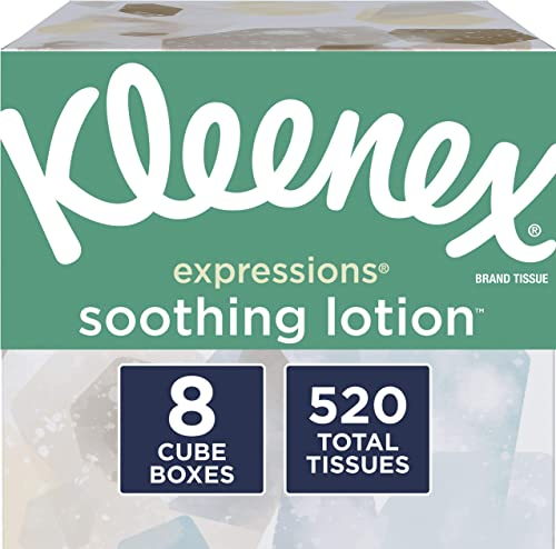 Kleenex Expressions Soothing Lotion Facial Tissues, 8 Cube Boxes, 65 Tissues per Box (520 Tissues Total), Coconut Oil...