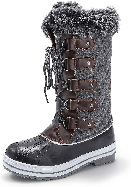 IDIFU Women's Warm Winter Snow Boots Waterproof Anti-Slip Mid-Calf Faux Fur Outdoor Shoes