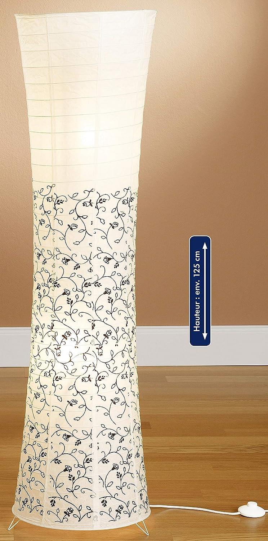 Trango TG1230L Modern Design LED Reispapier Stehlampe *AMSTERDAM* in Rund Orange Papierlampe, 125cm Hoch incl. 2x E14 LED Leuchtmittel als Wohnzimmer Deco Lampe, Standleuchte, Lampenschirm Floral Inkl. 2x Led