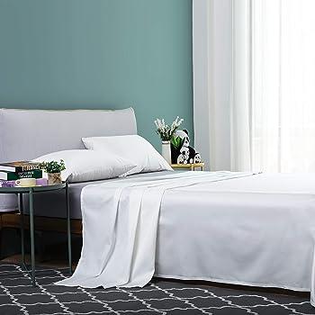 Vanc Home Juego de sábanas de satén, de algodón egipcio de 1000 hilos, algodón, blancanieves, Double (230x260cm): Amazon.es: Hogar