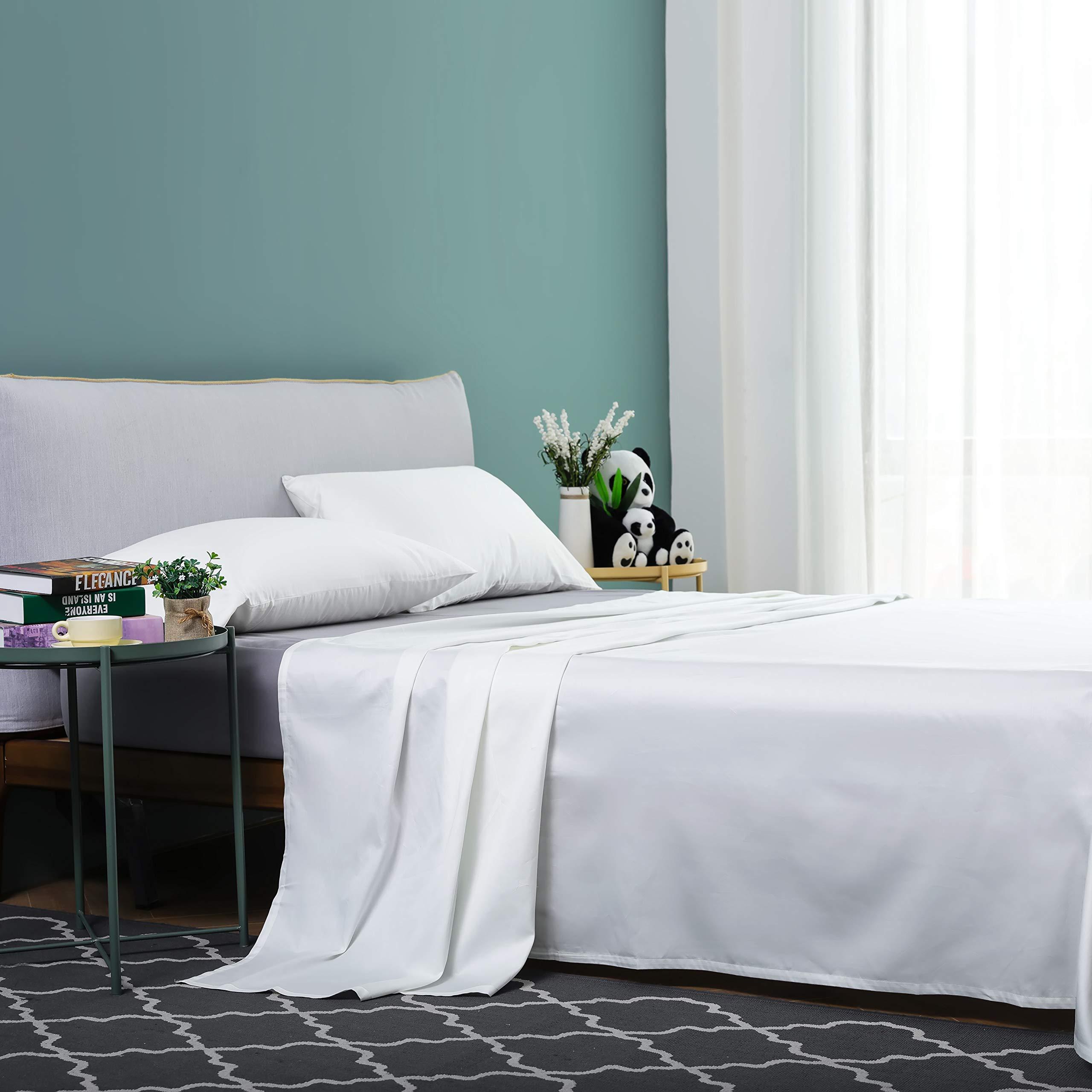 Vanc Home Juego de sábanas de satén, de algodón egipcio de 1000 hilos, algodón, blancanieves, King (270x260cm): Amazon.es: Hogar