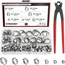 DYWISHKEY 304 Stainless Steel Single Ear Stepless Hose Clamps with Pincers Kit (90 PCS)