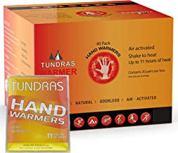 Tundras Hot Hand Warmers 11 Hours Long Lasting - 40 Count - Natural Odorless Safe Single Use Air Activated Heat Packs for ...